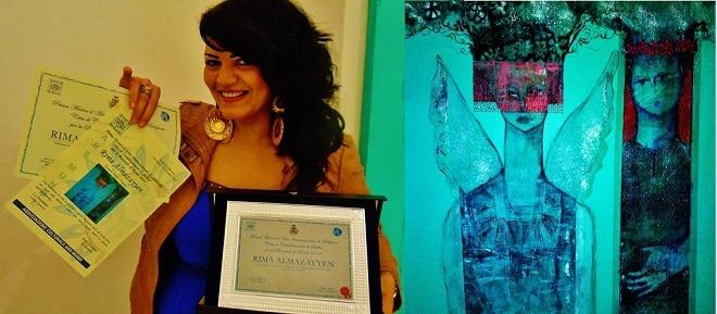 ريما المزين .. أول عربية تفوز بالجائزة الأولى في معرض الفن الدولي بإيطاليا